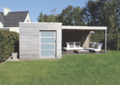 abri piscine et jardin avec salon près d'Angers